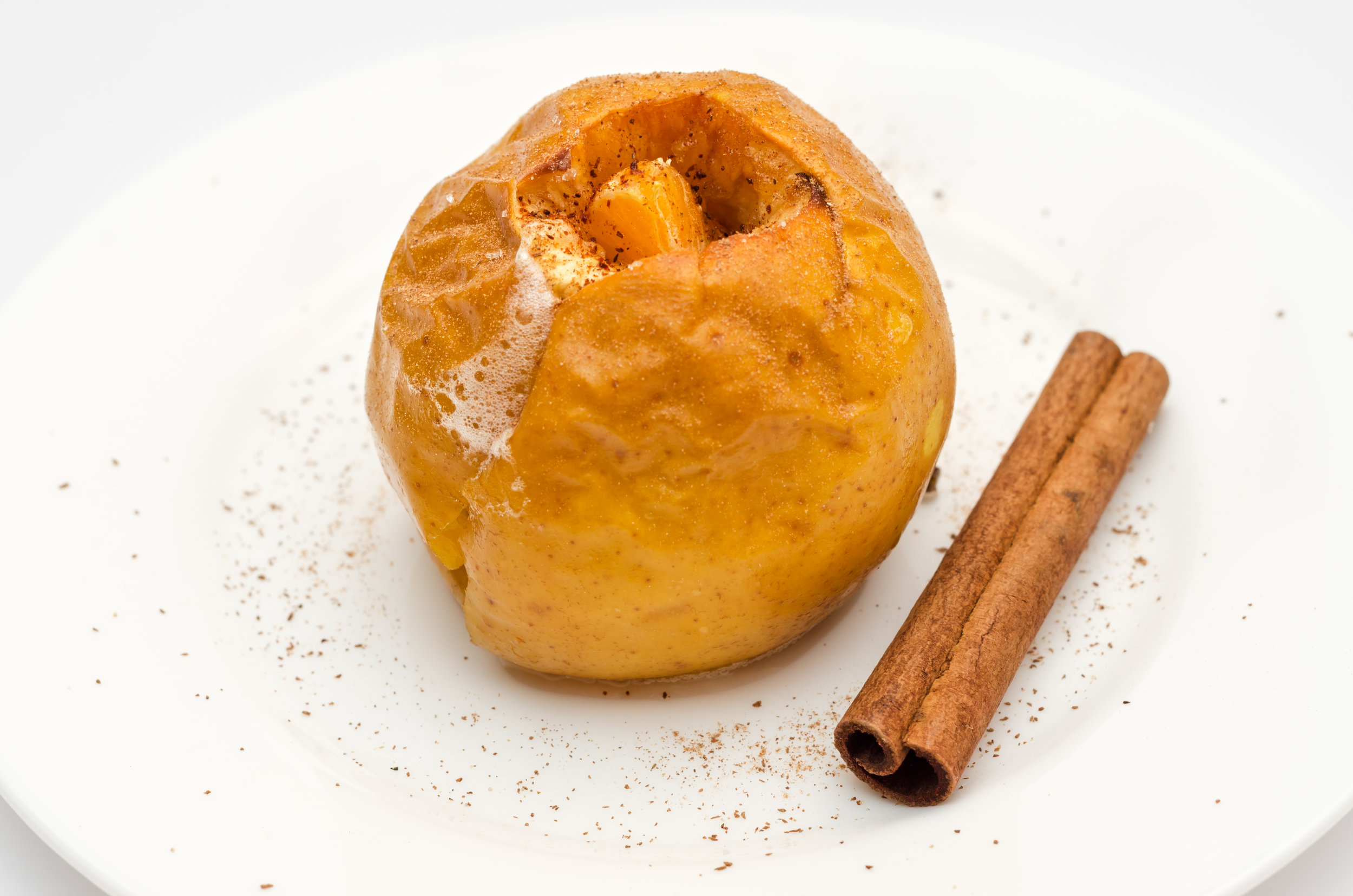 Manzana asada - caramelizada, crema de vainilla de México