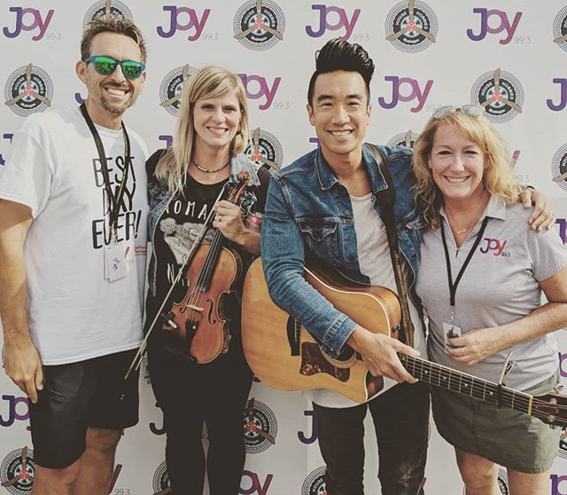 Love meeting amazing friends and musical partners across the US when we tour. Thanks to @joy99.3 and @fuelfm95.9 for the encouragement, support and for playing our music 👊. Also great meeting @mrmatthein from the fantastic @iamtheyband ! Let's talk about that strings collaboration! 🎻🎻 @unitychristianmusicfestival @countrydairyinc  #ucmf #unitychristianmusicfestival #iamatunity #radio #michigan #festival #ccm