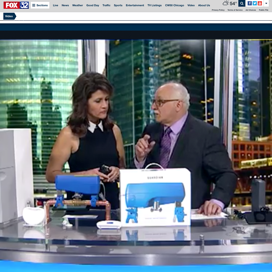 Dr. Frank promoting the Guardian Leak Prevention System on Fox32 Good Day Chicago
