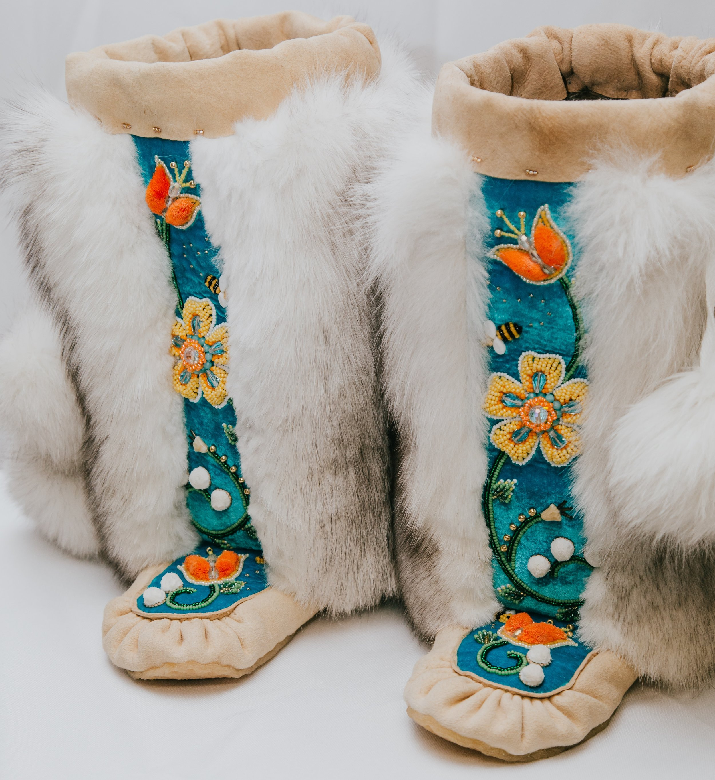 """"""" Bee-utiful""""  glass beads, leather, and fur boots  Samantha Jacobs"""