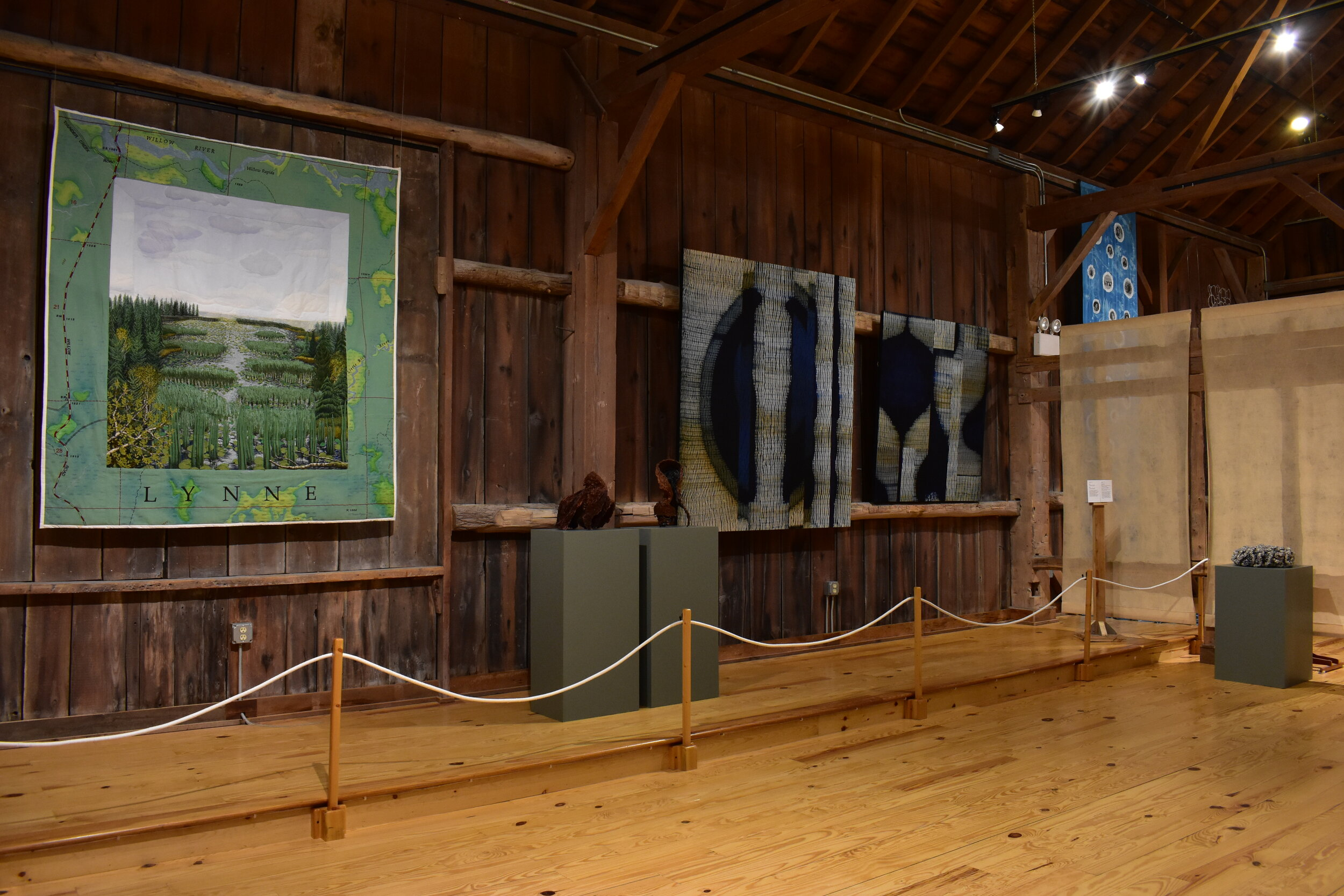 Installation view of  Water  with works by Terese Agnew (left), Frank Connet (middle and right), and Karyl Sisson (far right). Courtesy of the artists (Connet and Sisson) and Collection of John M. Walsh III (Agnew).