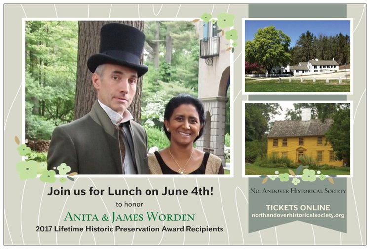 Save the Date announcement from the North Andover Historical Society in honor of Anita and James Worden.