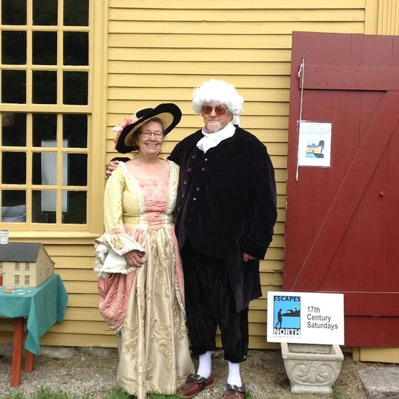 Kathy Stevens & Crowell Freeman at the Parson Barnard House greeting visitors on 17th Century Saturdays.