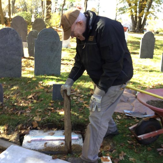 Jim busy with preservation efforts in the Second Burial Ground.