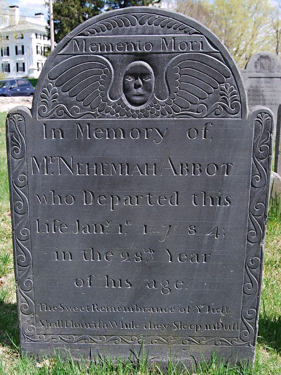 Headstone of Mr. Nehemiah Abbot (1756-1784) in the First Burying Ground.