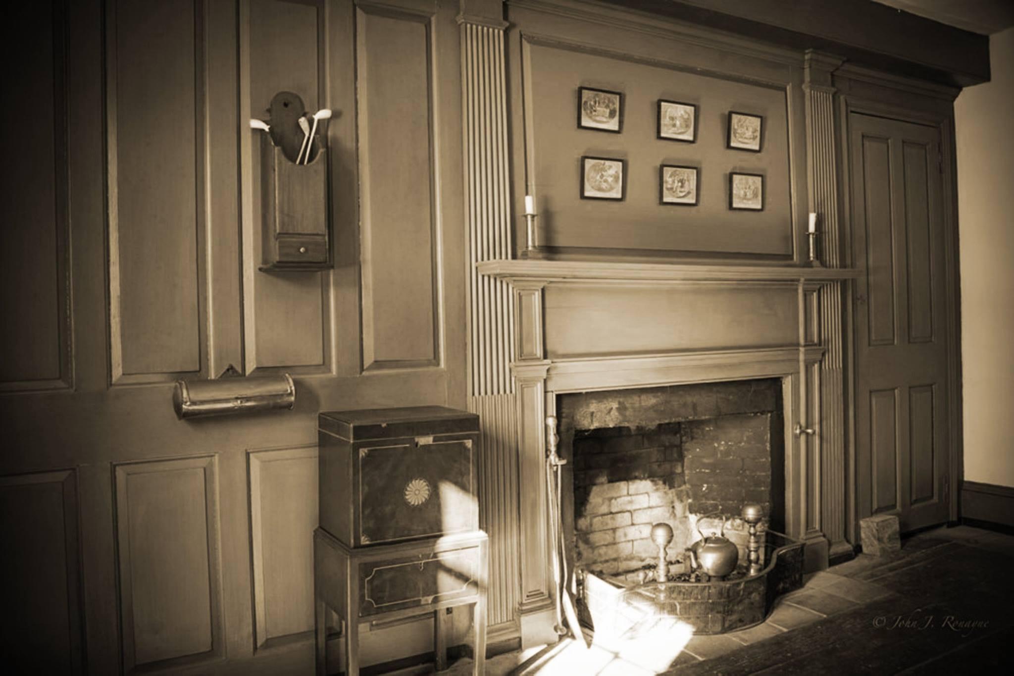 Sepia photo of the Parson Barnard house by Jon Ronayne