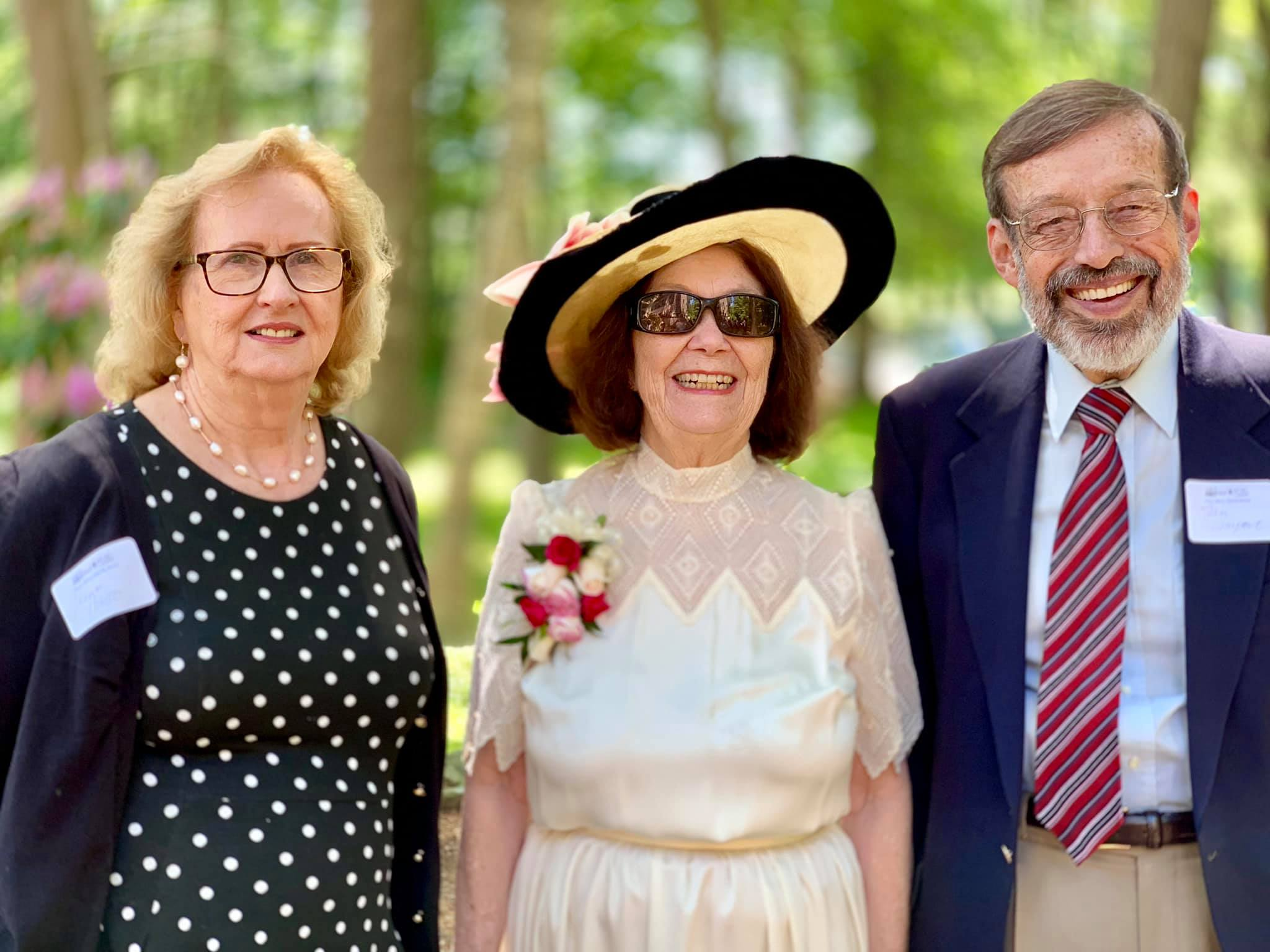 "Diane Huster, Board Member & 2019 Gala Chair; Kathy Stevens, 2019 Historic Preservation Award honoree and 1st Vice President; Stan Limpert, President, North Andover Historical Society at the June 9, 2019 ""Celebrating Our Legacy"" Gala event at Rolling Ridge Retreat & Conference Center."