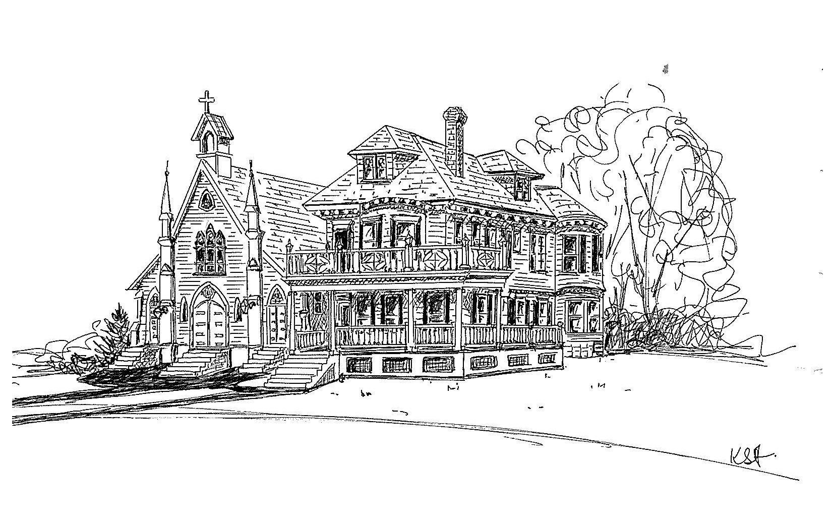 Sketch of old church and rectory 1901.jpg