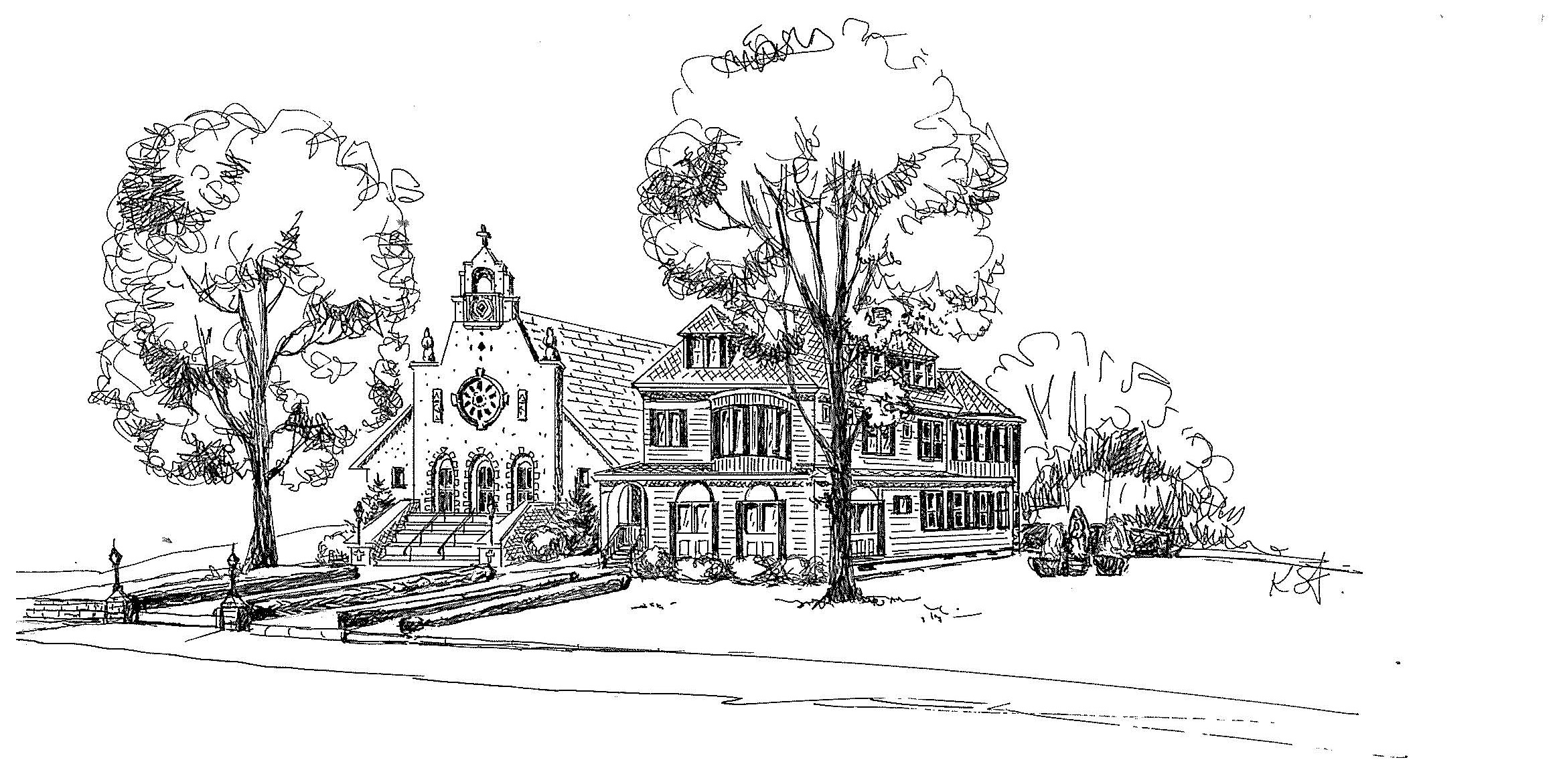 Sketch of old Church and rectory with new Mission Style facade 1918-1928.jpg