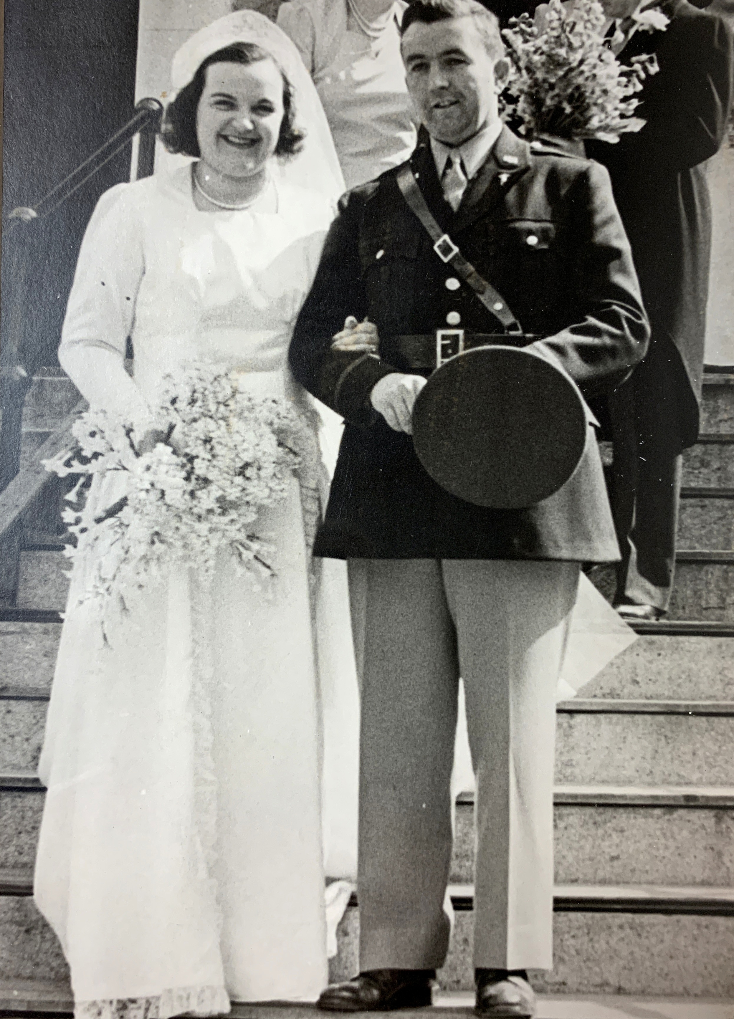 Wedding of Alice M. Brennan and William F. Rock at St. Michael's Church on April 6, 1942. These are the parents of parishioners Mary Alice and Paul Rock.