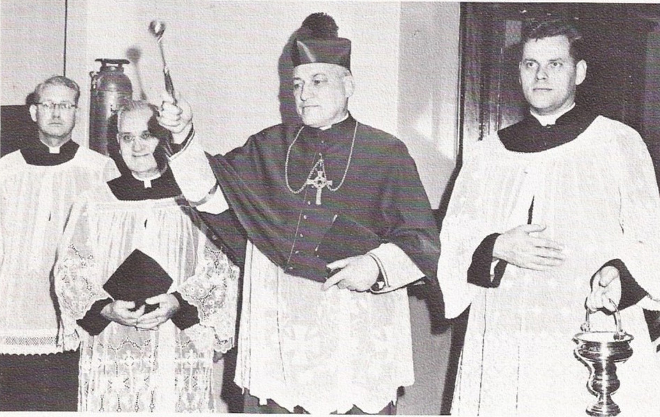 (left to right) Reverend John H. O'Connor, Monsignor Shea, Archbishop Cushing and Reverend Frederick T. Burke