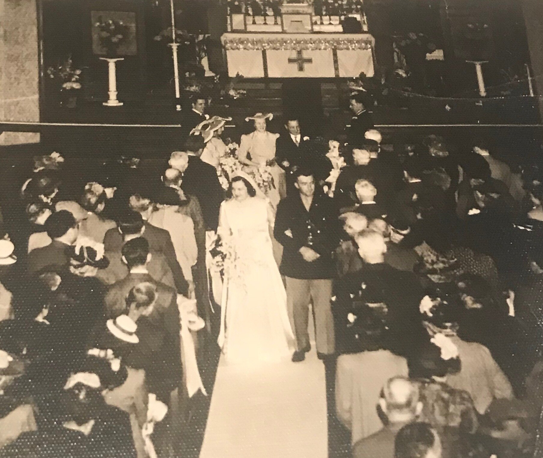 Wedding of Alice M. Brennan and William F. Rock at St. Michael's Church on April 6, 1942.  Wedding photos courtesy or Mary Alice and Paul Rock