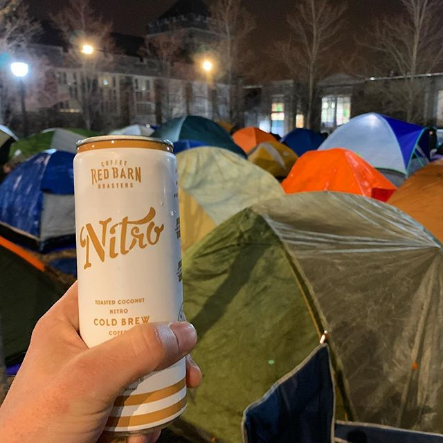 #RedBarnNitro #ColdBrew keeping campout alive last night through rain, sleet, and snow. Going to be a hell of a game! #GTHCGTH #LetsGoDuke