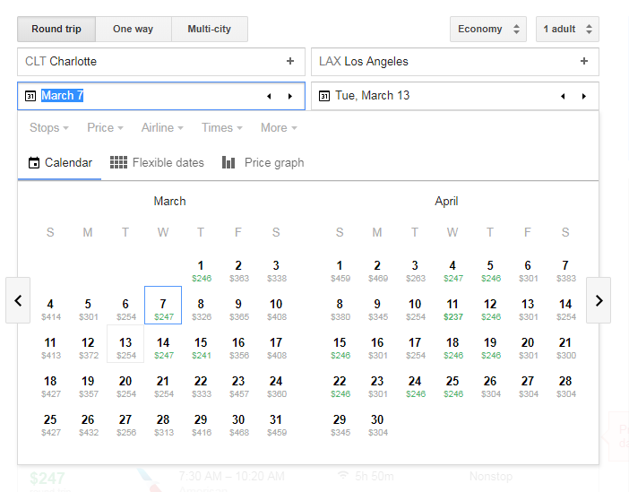 Google Calender even highlights cheaper flights and days in green for you!