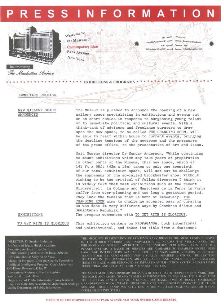 1989 Press Release Wolkenkratzer Magazine -