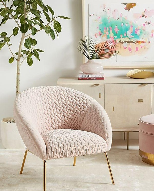 I have the weakness for beautiful chairs. This one - is so gracious. Upholstered in plush, quilted velvet that's set in relief by sleek brass legs, this chic chair offers a thoughtful balance of warm and cool. Must have for #BOSSbabe office!⁠ .⁠ image via @anthropologie⁠ .⁠ For product details head on over to my Insta Shop   #shopthelook #shopstyle #styled #beachlife