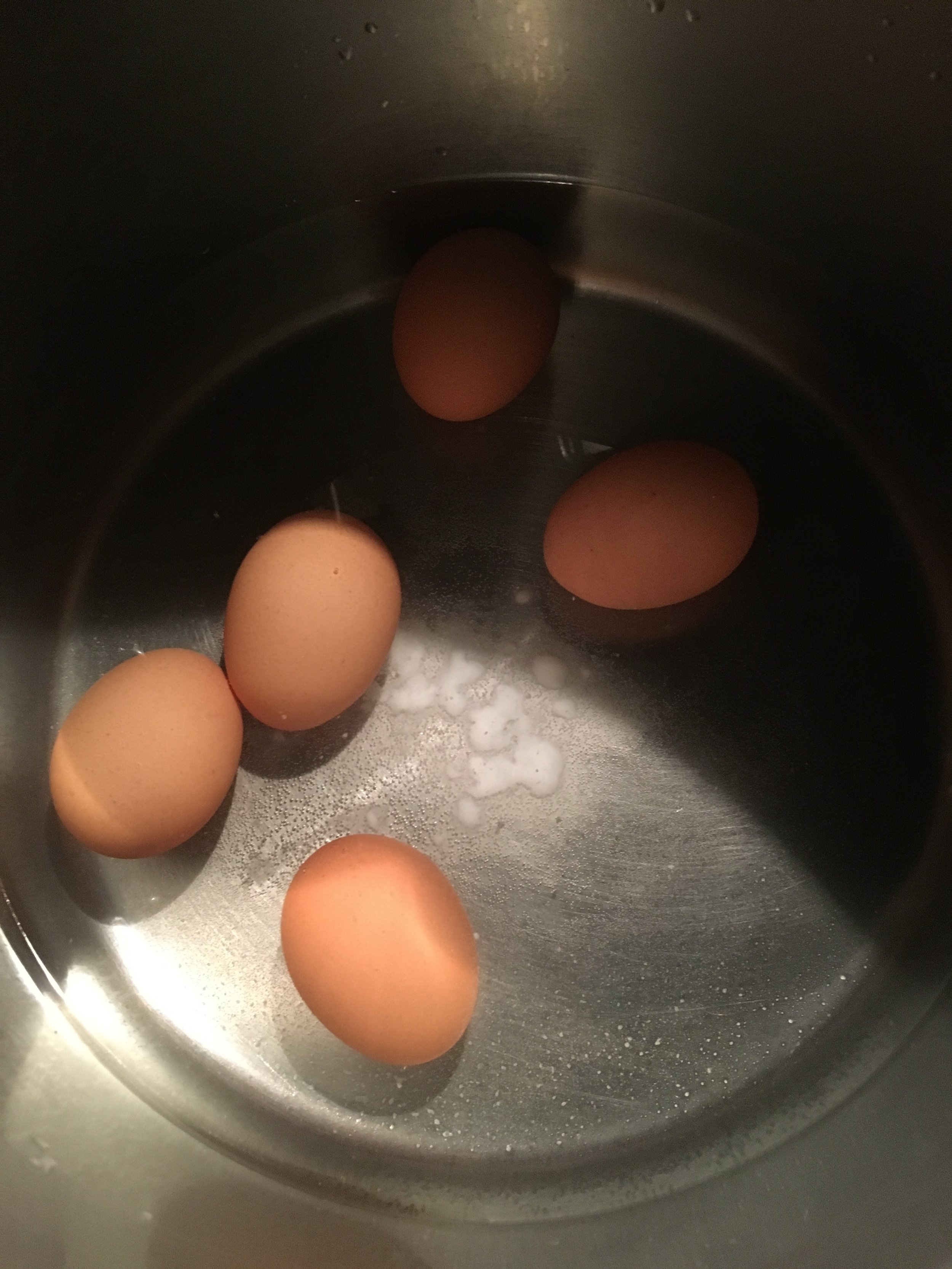 Discovered how easy it is to peel the eggs when you boil them with a bit of baking soda!
