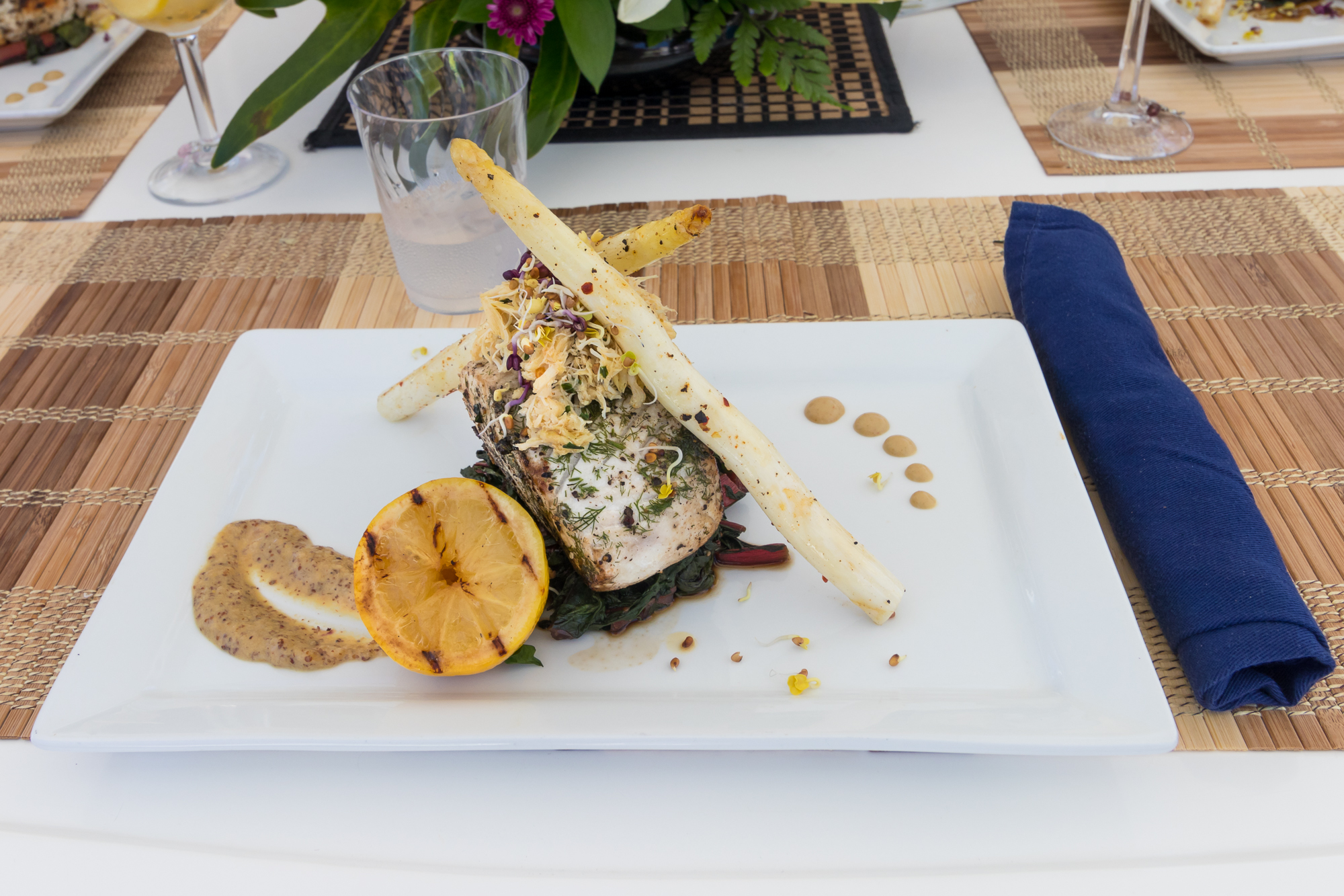 Pan-seared wahoo served on Knot Anchored