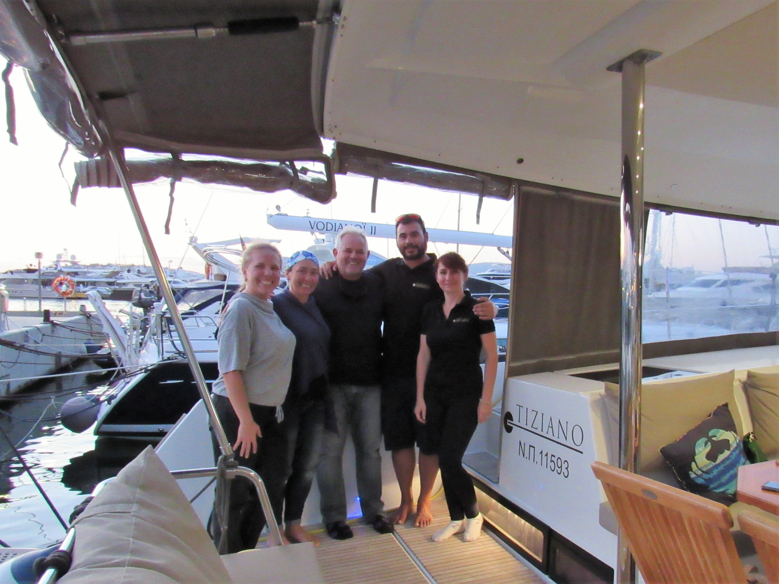 A visit and dinner with the Tiziano crew.  Flisvos Marina, Athens, Greece