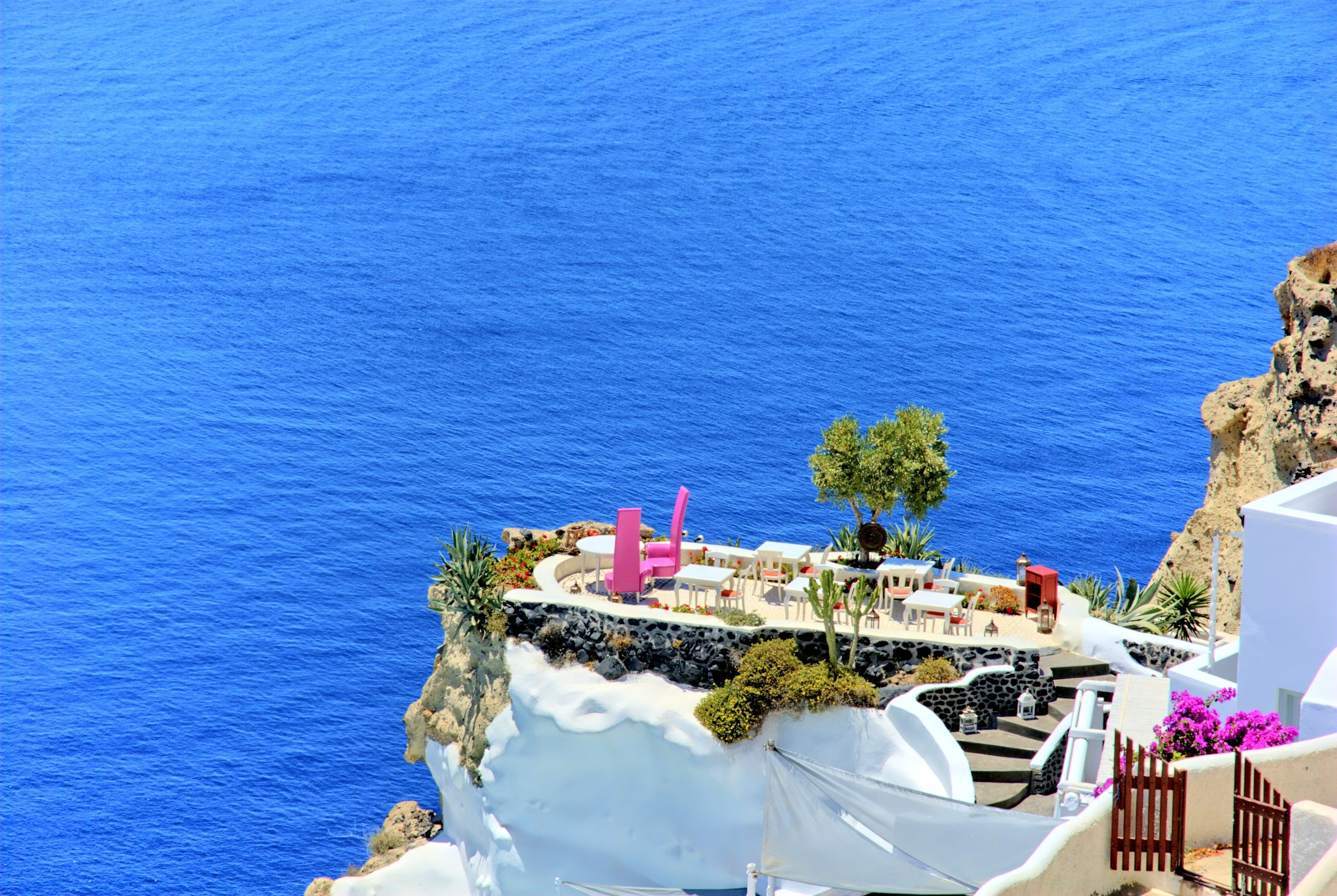 Looking out over Santorini, Greece