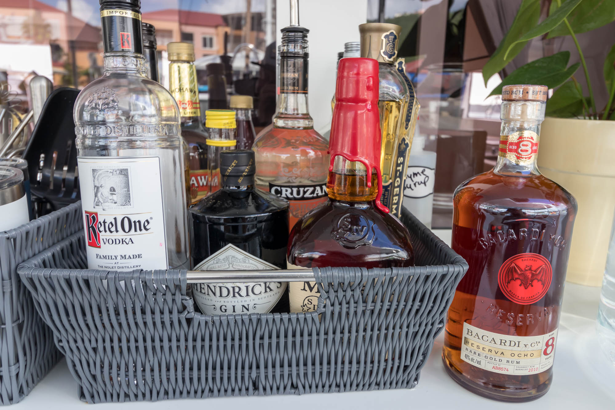 Standard bar aboard Floatation Therapy includes premium spirits such as Ketel One, Hendricks and Maker's Mark
