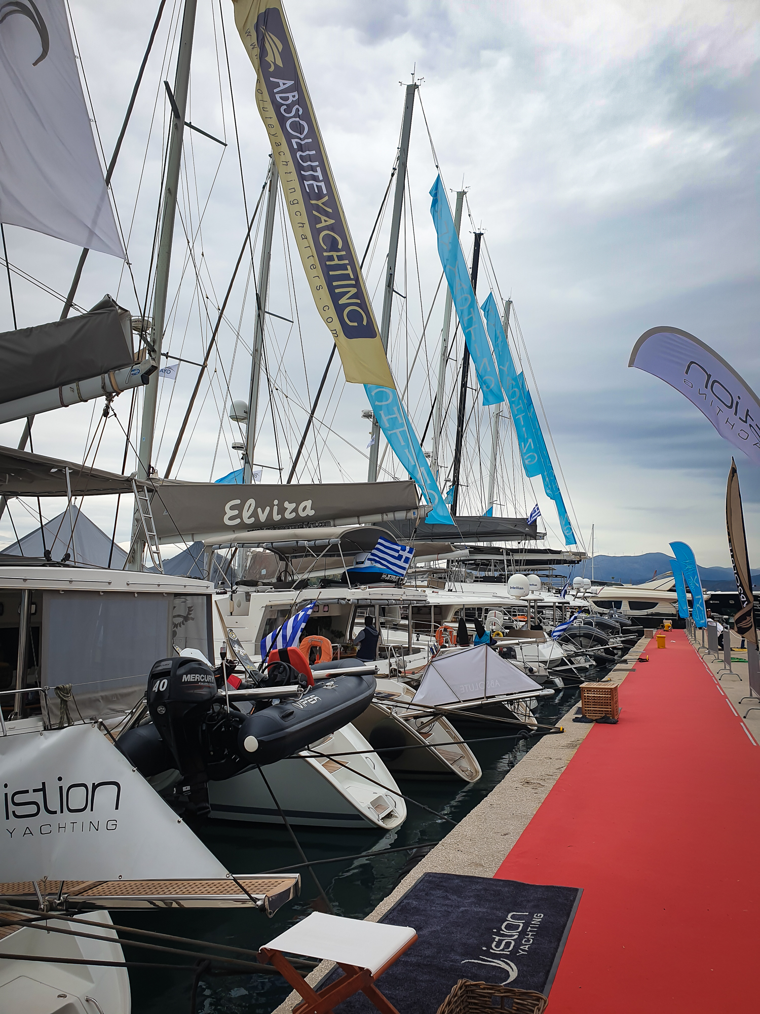 The red carpet is laid out along the port…catamarans are ready and crews are waiting for visitors. MEDYS 2019