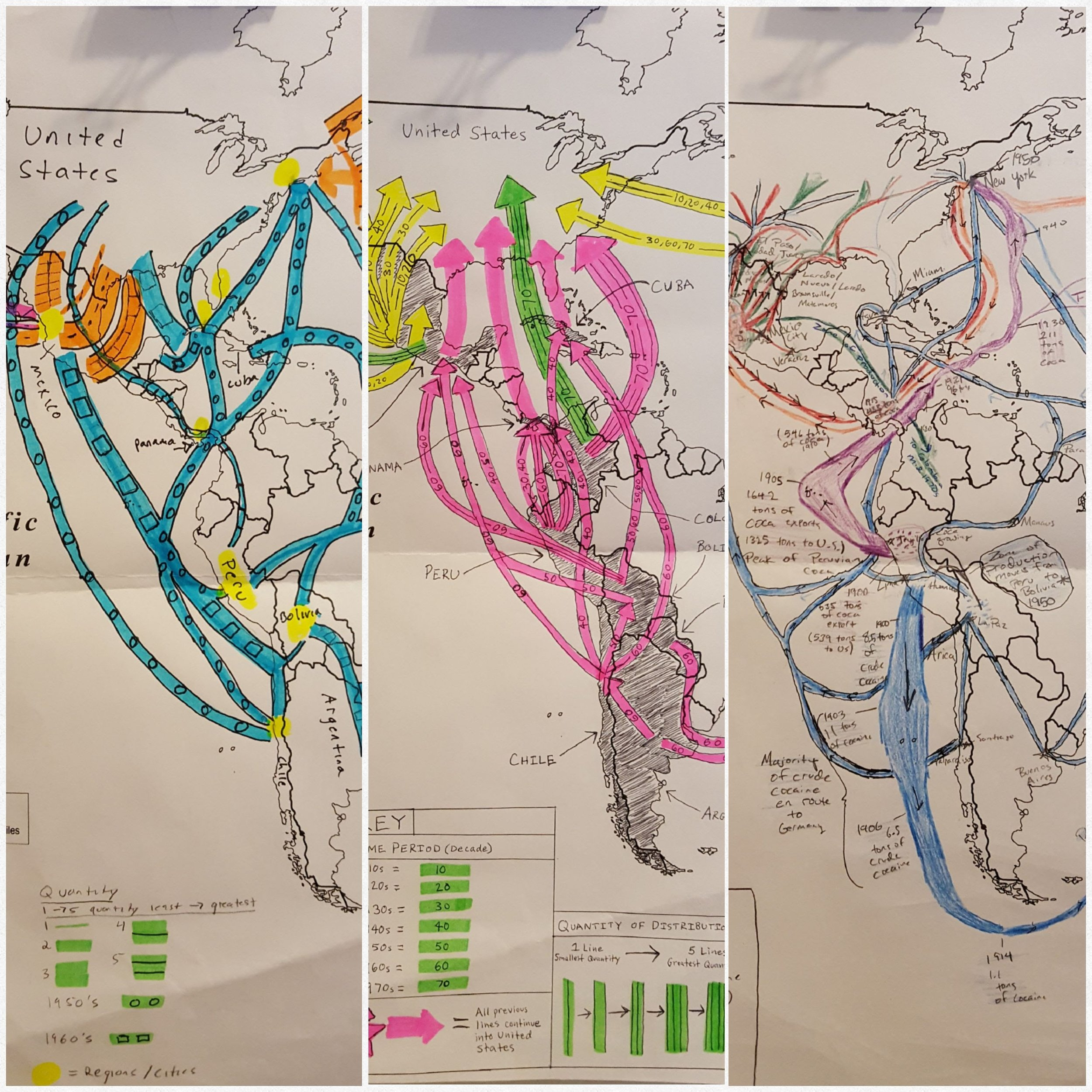 Student maps of the history of drug trafficking across the Americas, spring 2017 (shared with permission).