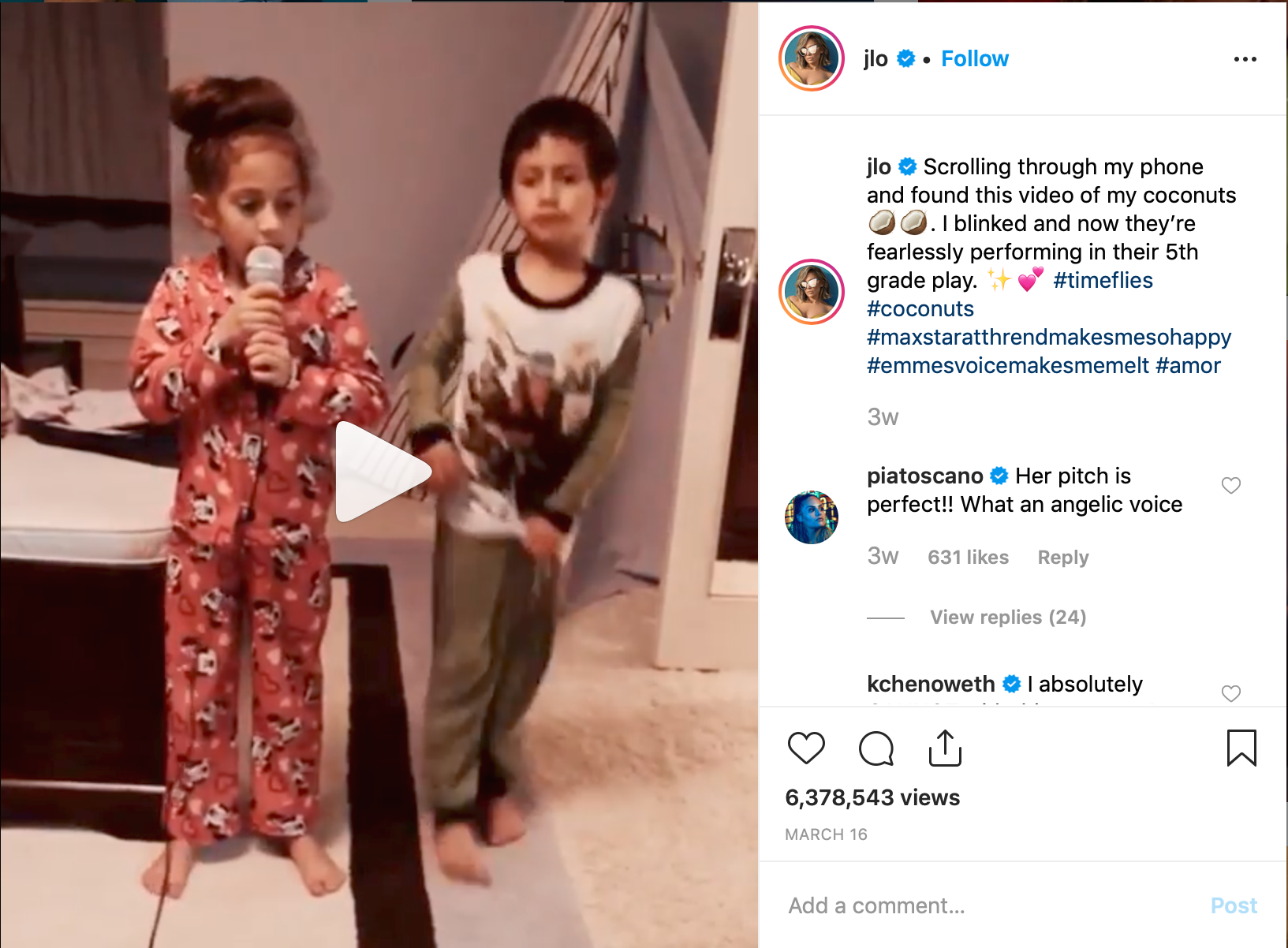 Figure 4. Jennifer Lopez's twins are singing in their pyjamas demonstrating an intimate family moment