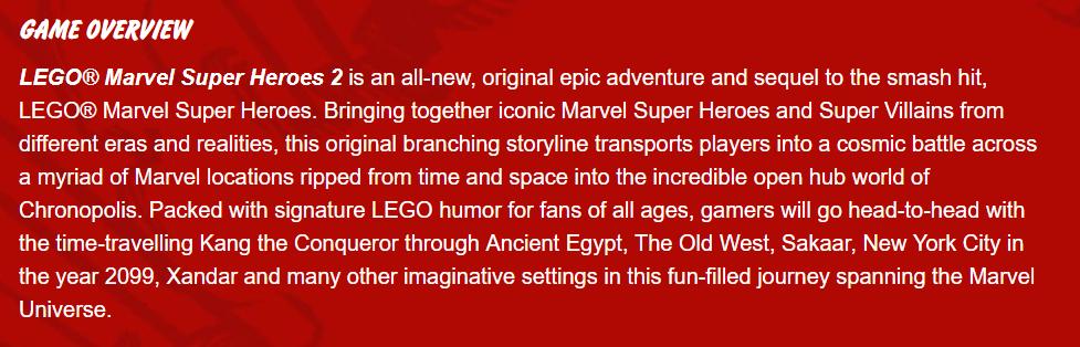 LEGO Marvel Super Heroes 2 Synapsis