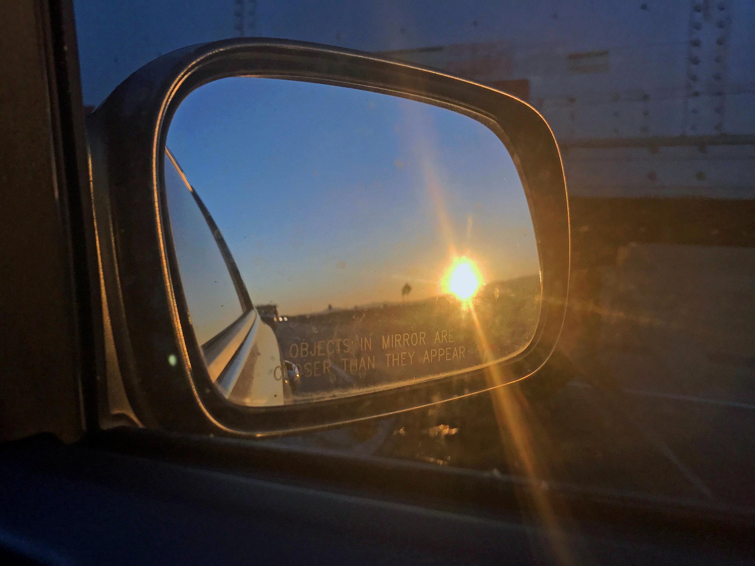 California Sunrise in the side mirror