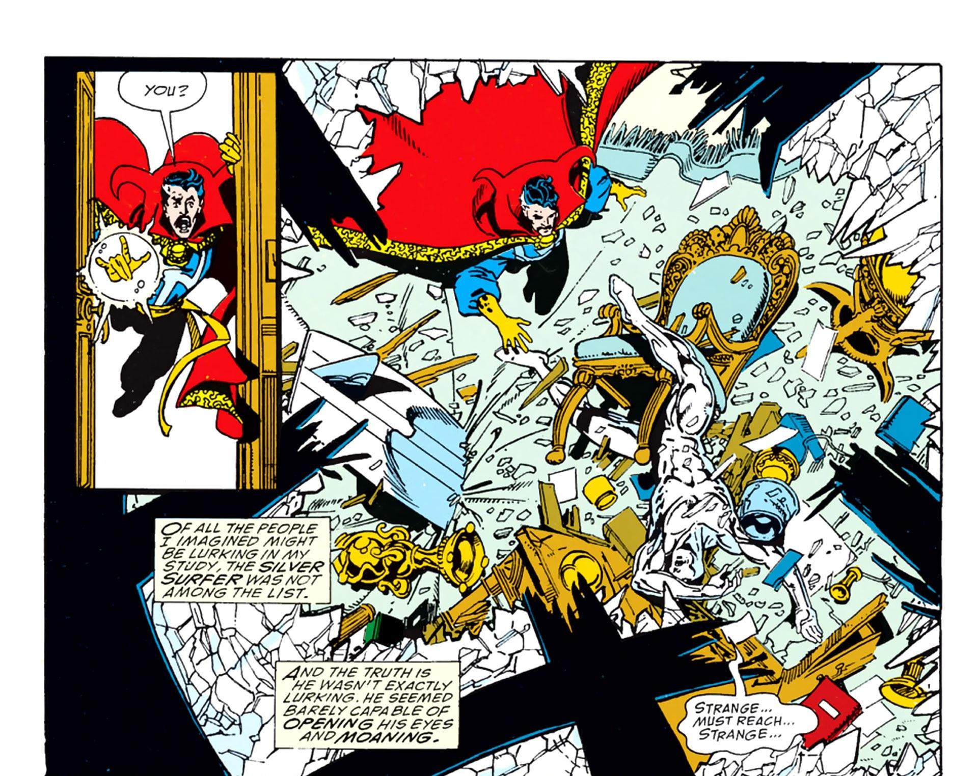 Silver Surfer Crashing into the Sanctum Sanctorum to warn Dr. Strange about Thanos