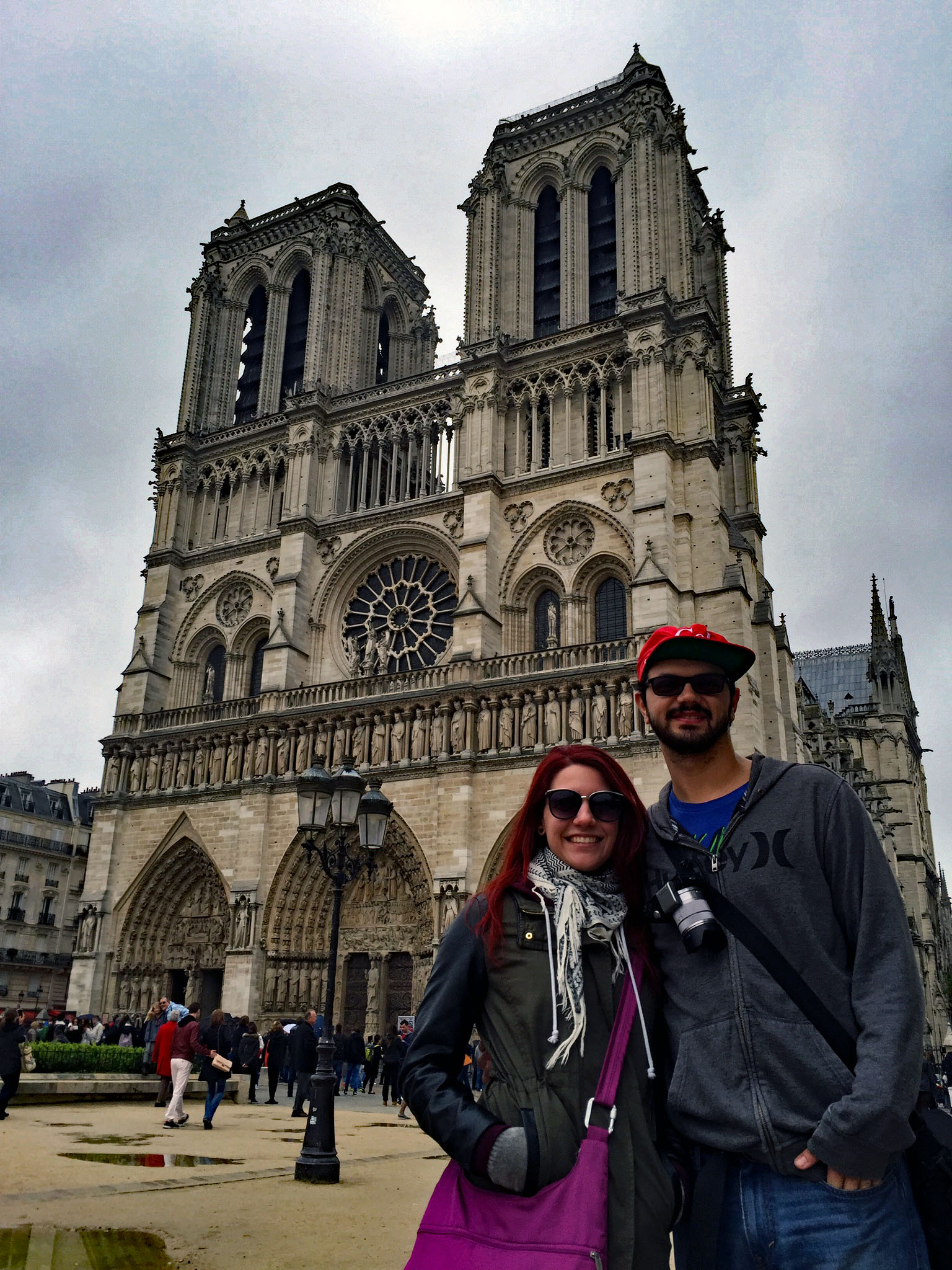 Dee and I (with my coca-cola hat)in front of Notre-Dame de Paris