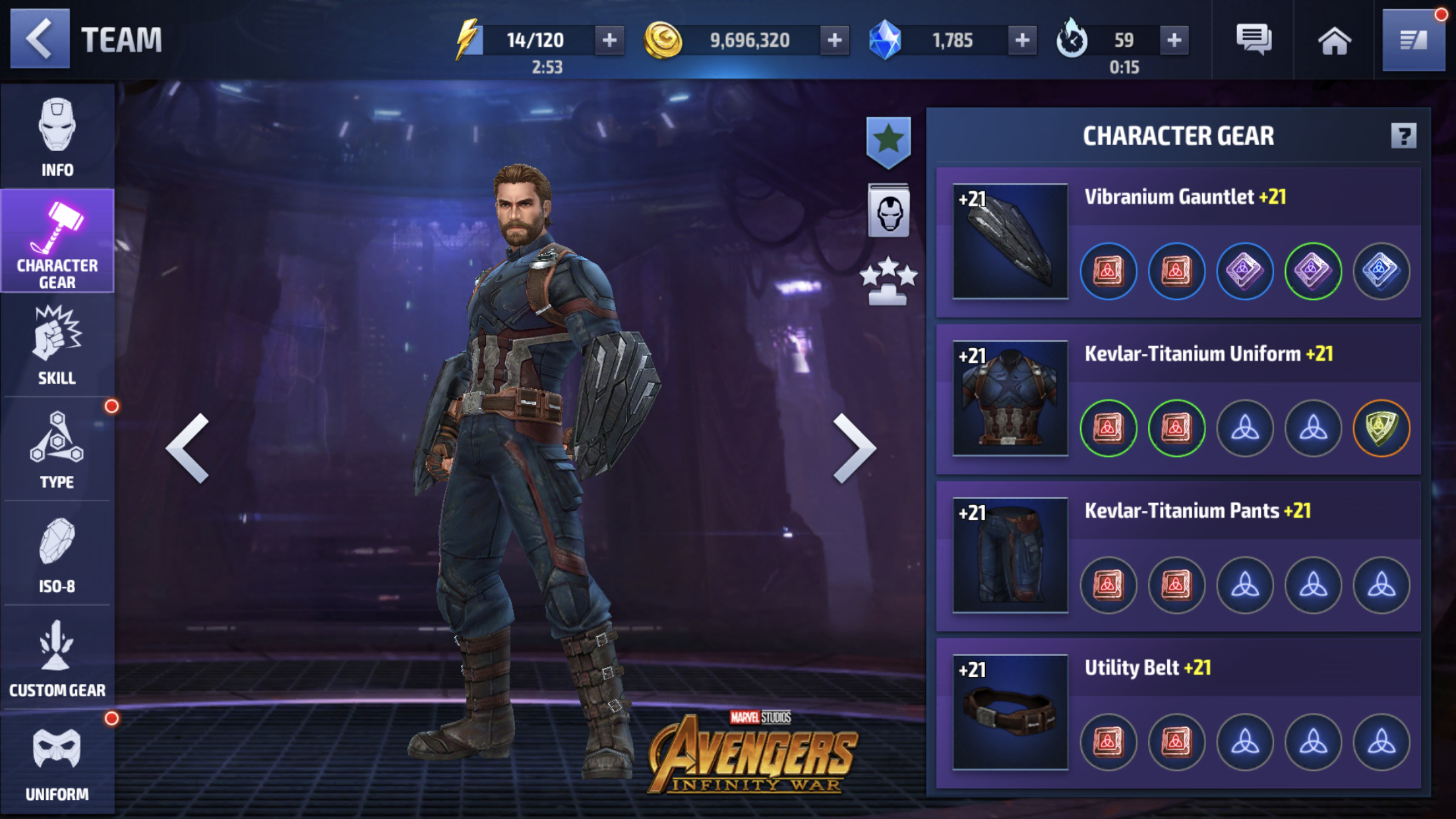 Captain America Gear in Marvel Future Fight (Netmarble)