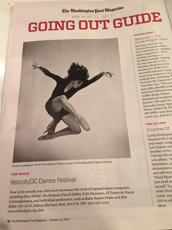 Velocitydc dance festival - Chamber Pas, a duet choreographed by Loungway, danced by Jessica Miller and Ahmaud Culver was featured at the 2016 VelocityDC Dance Festival.