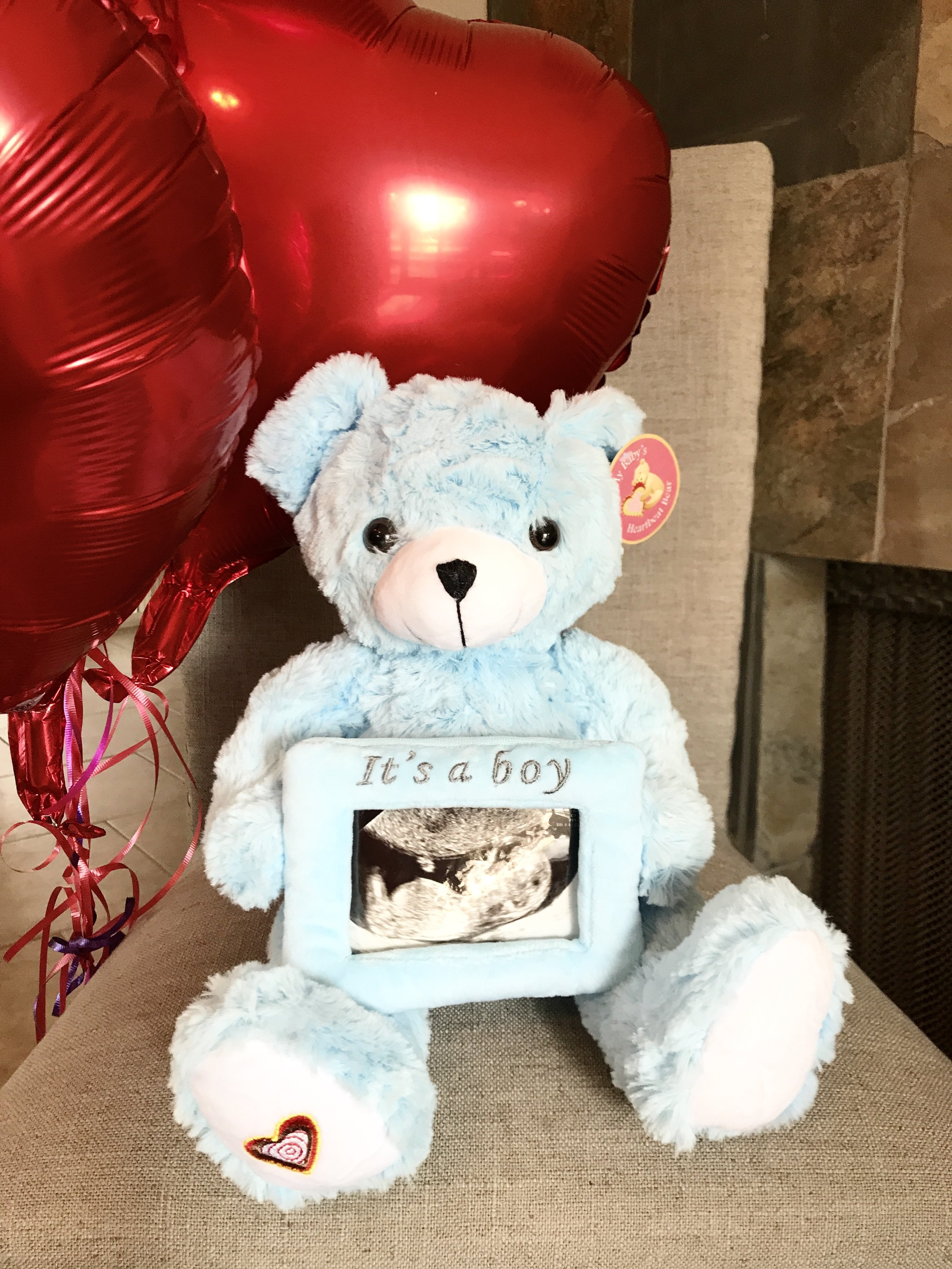 Blue My Babys Heartbeat Bear with ultrasound picture frame.