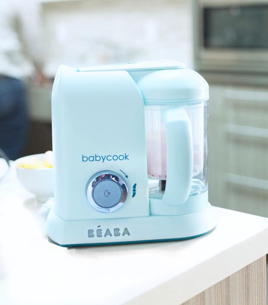 blue beaba babycook on white counter