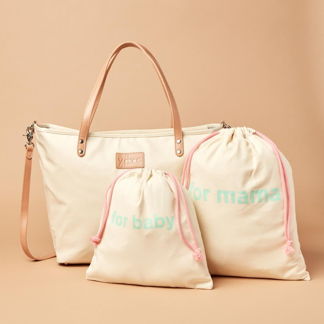 YKC large bag with mother and baby totes in cream color