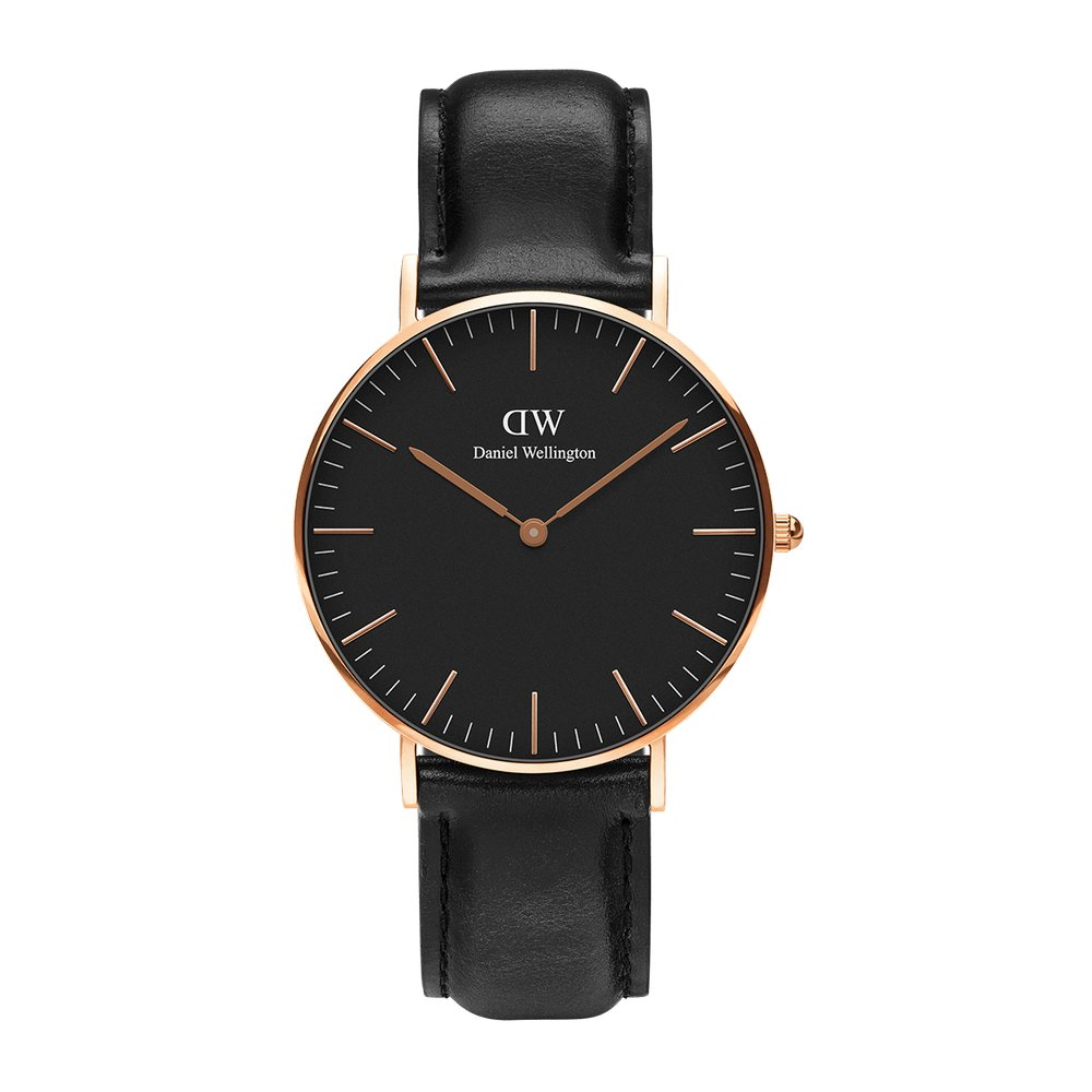 Daniel Wellington Calssi Timepiece in black and rose gold