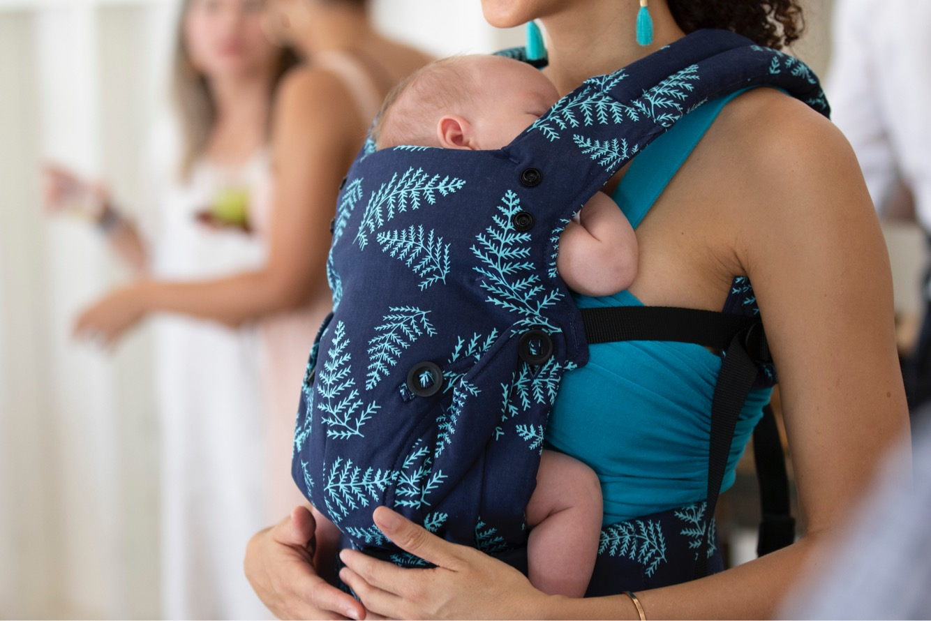 baby tula explore babby carrier dark blue and teal pattern