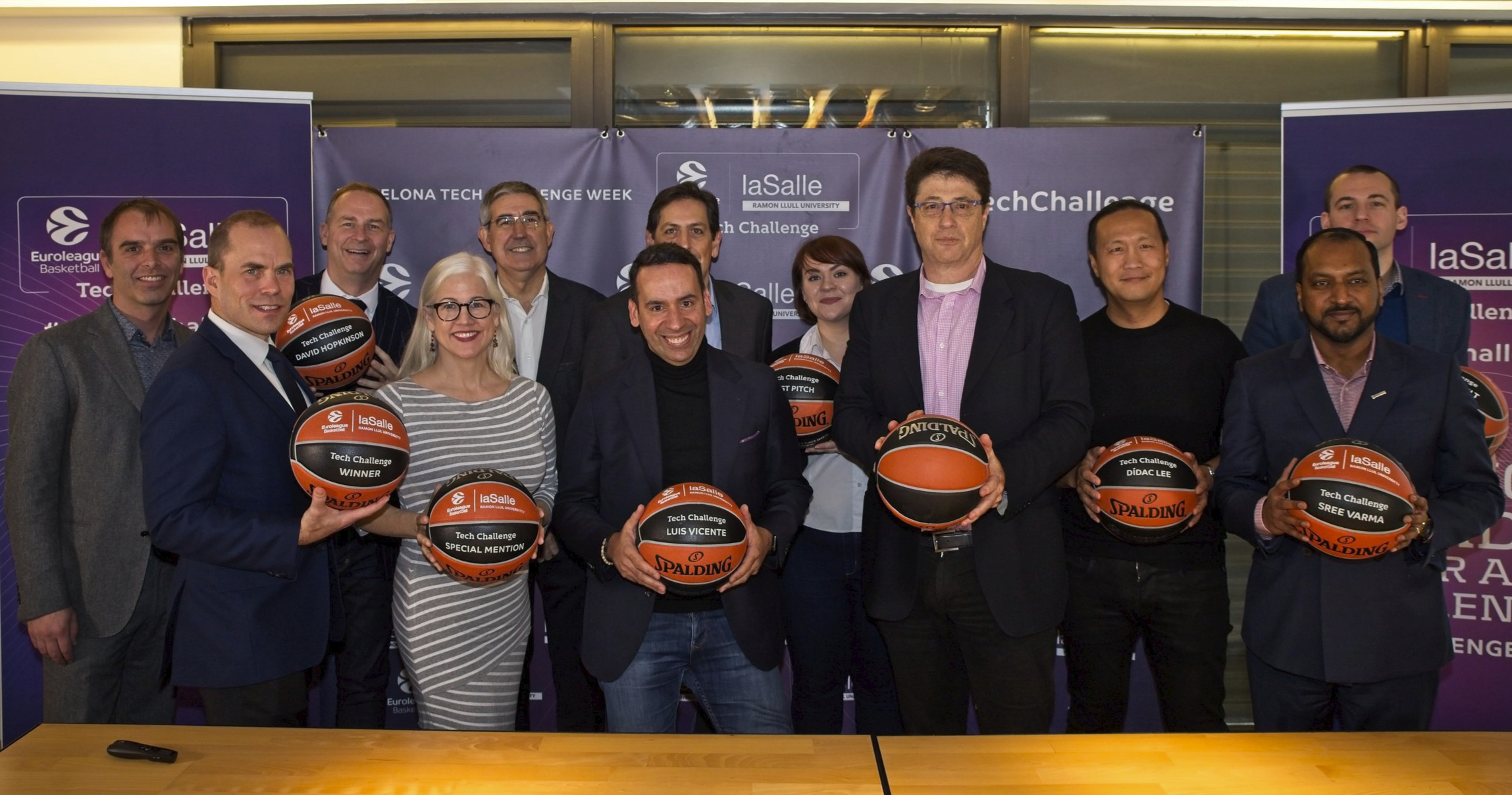 The judges and winners of the Euroleague Basketball Tech Challenge 2019