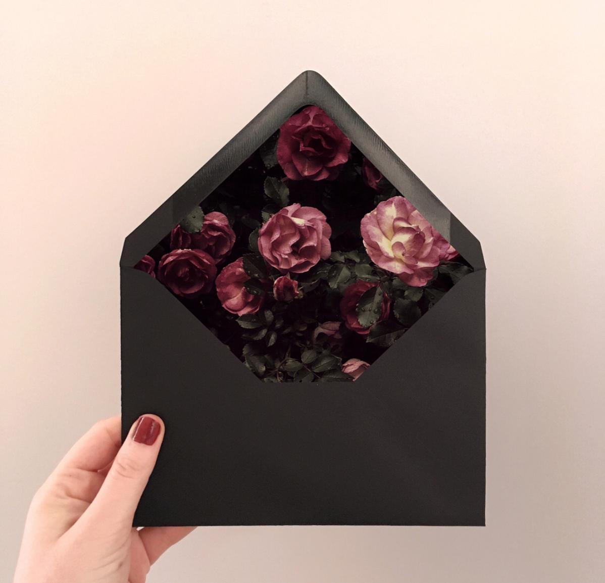 Custom Rose Garden envelope liners.