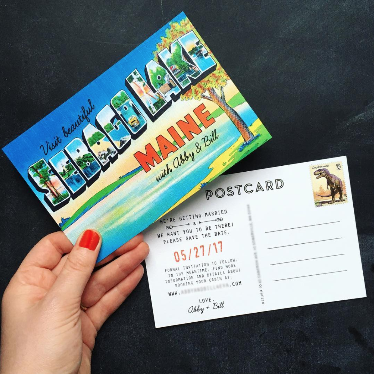 Quirky vintage-style Save the Dates postcards.