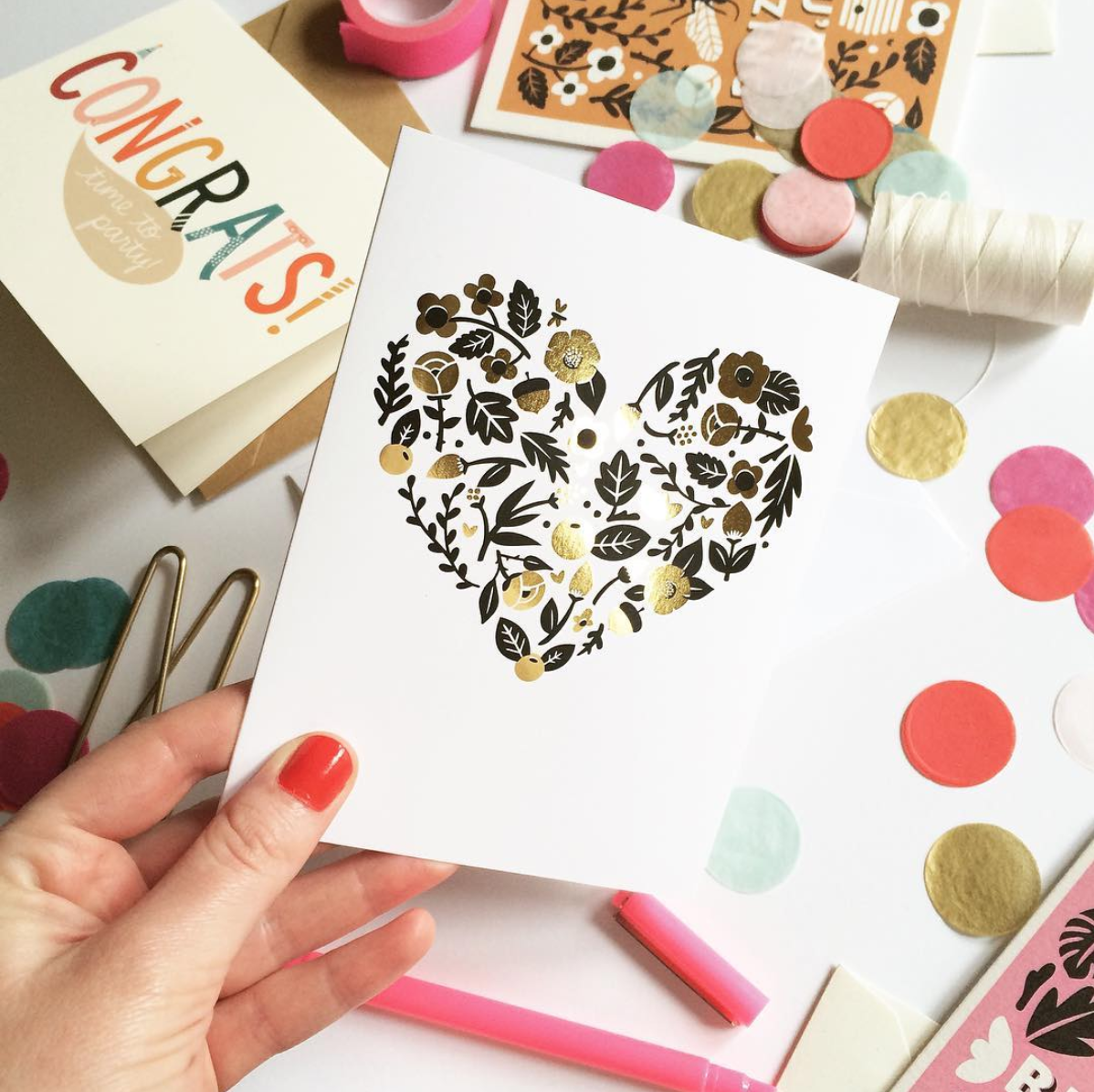 Gold foil thank you cards.