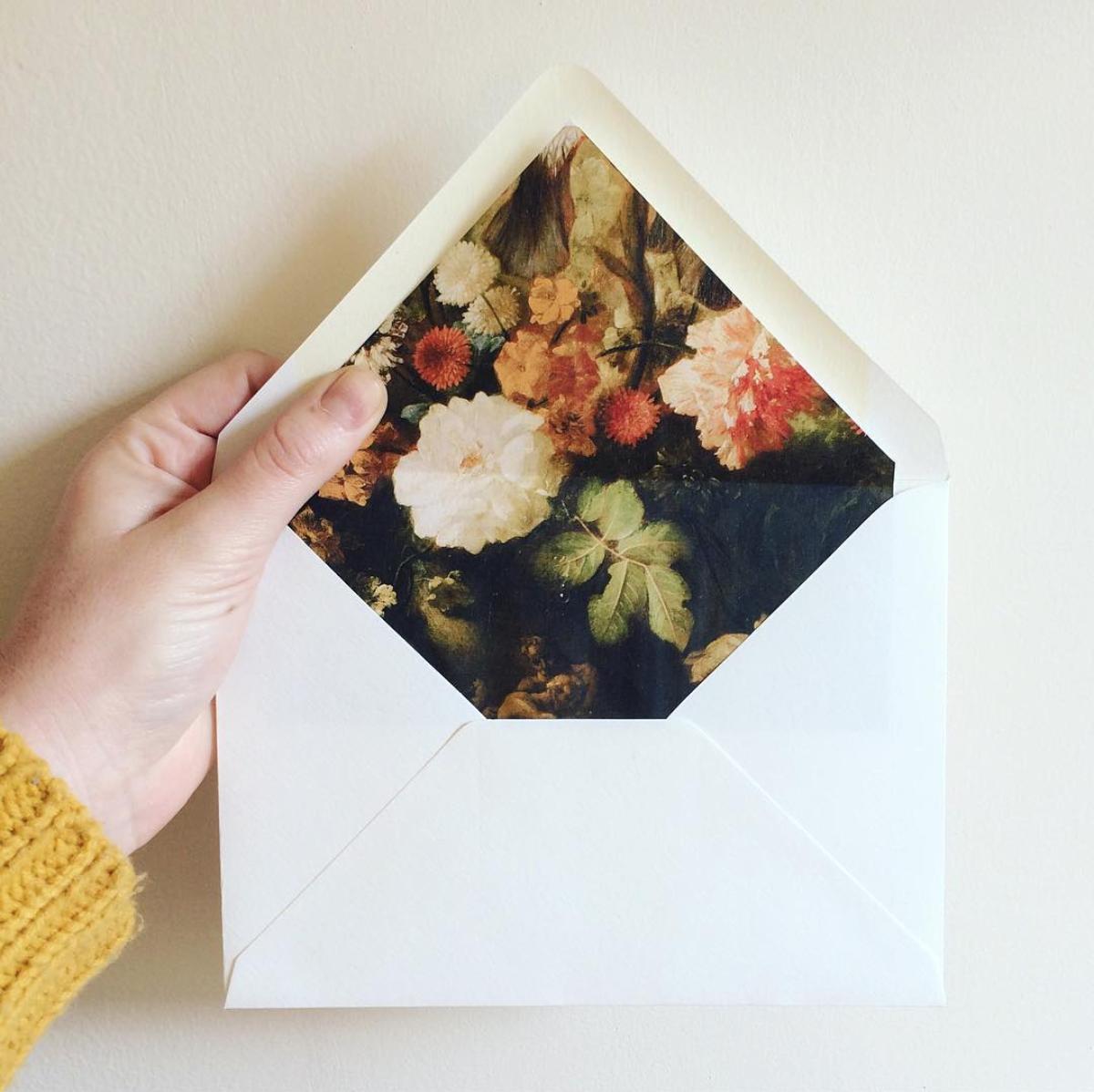 Floral envelope liners.