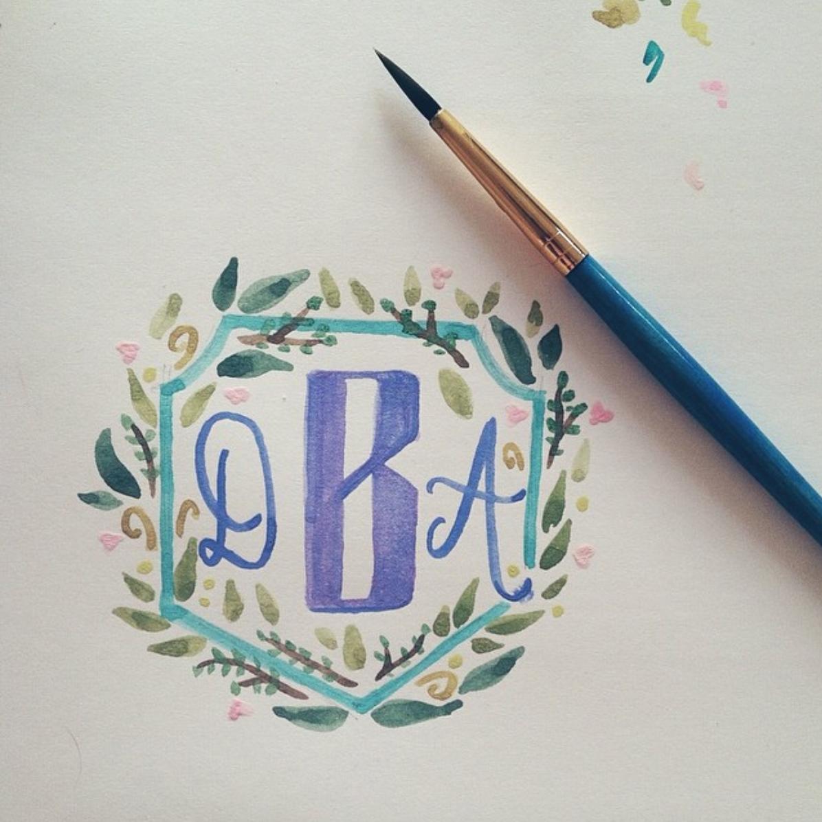 A custom watercolor monogram.
