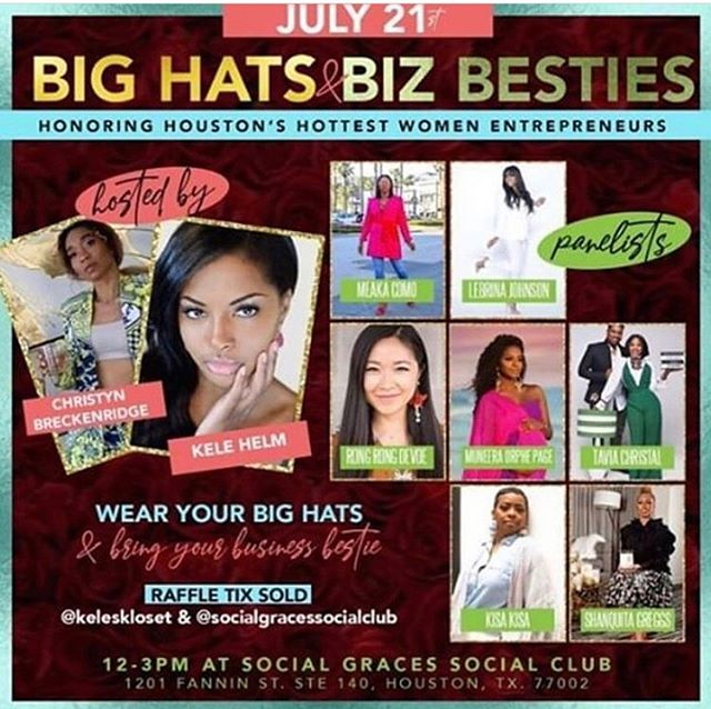 🔊 Find out some of the best tips of the trade that our founder has to offer and have fun at the same time 📣 Grab your Big hat and your bestie and meet @kisakisafashion at the  BIG HATZ & BIZ BESTIES BRUNCH 🥘  July 21 12pm-3pm Panelist: @rongrong_devoe_illustration @lebrinaj @meaka_millz @thegoodwife @ceo_shan @muneera_o @terrabstylesme @bixxbee  Get your tix now!!!!!! #eventbrite #houston #houstontx #houstonevents #powerbrunch
