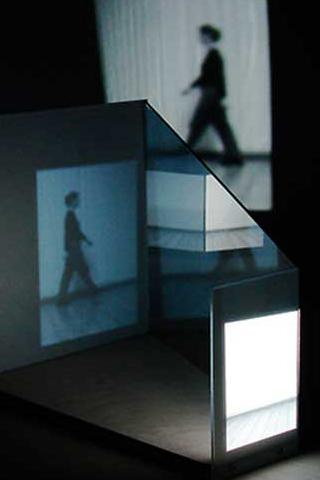 "Identified Edges, Reconfigured, 2015,00:03:45 minutes,b/w, no audio,approximate dimensions: h 12 x l 33 x w 19 "",video projection, plexiglass, wood"