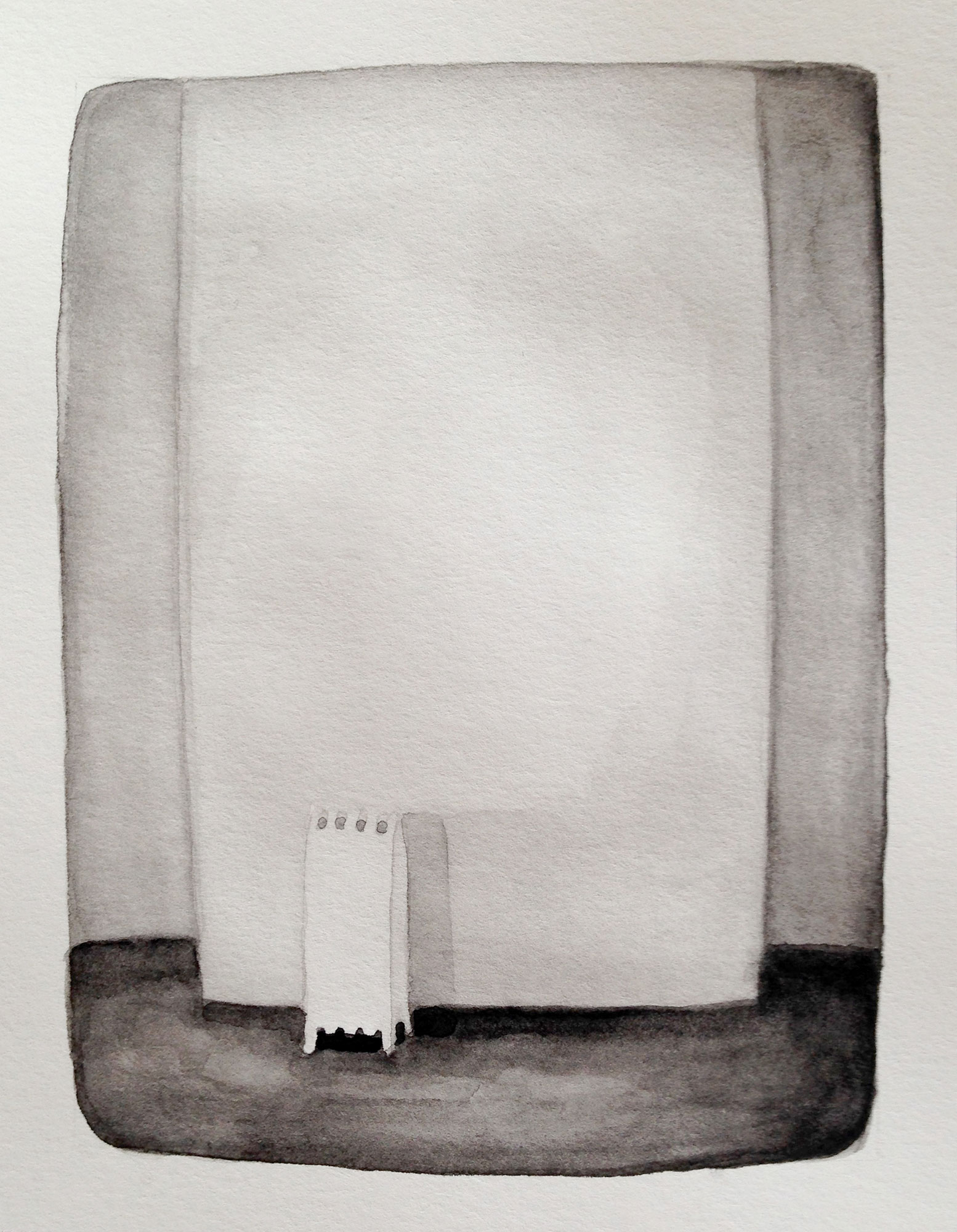 Radiator 3, 2015, 8 x 7 inches, watercolor on paper