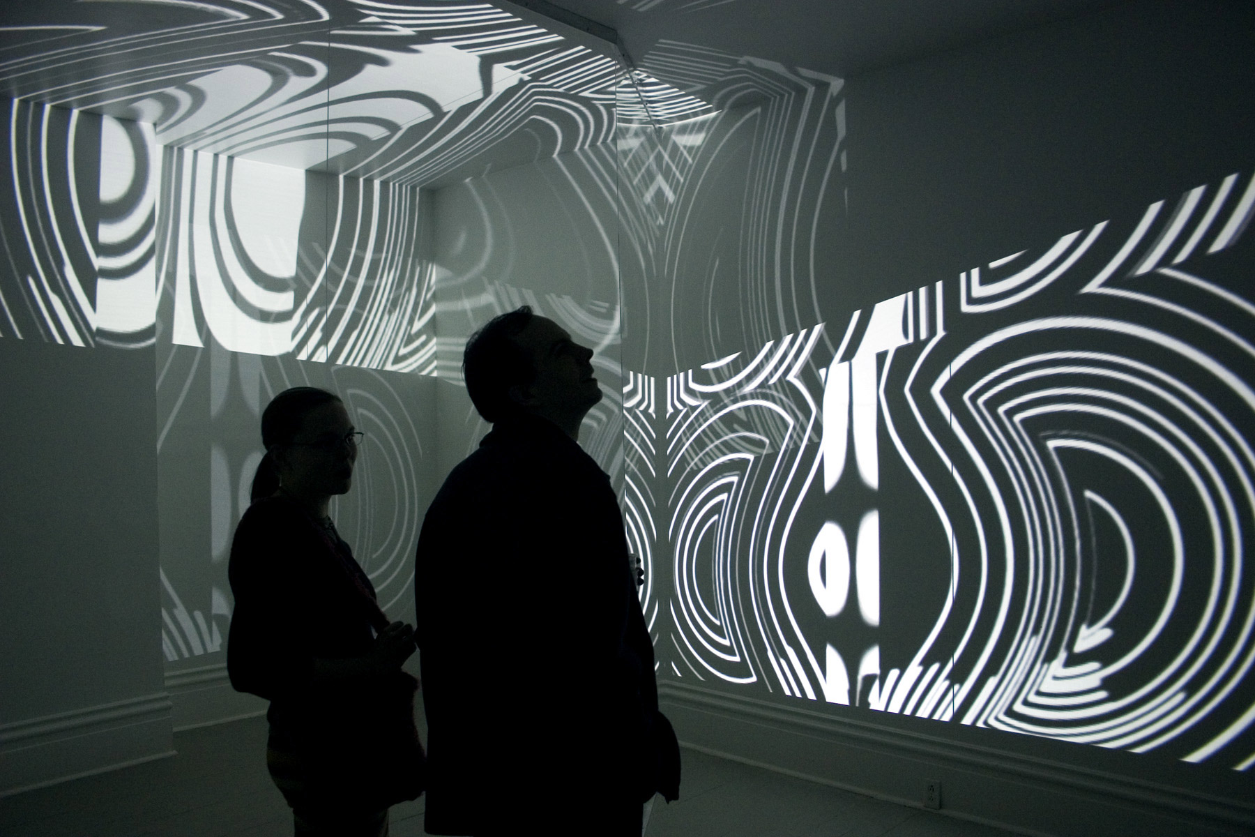Expanding Magnetic Molten Symmetry, 2006, 00:18:00 minutes loop, b/w, no audio, h 10 x l 20 x w 14 feet , two video projections, plexiglass
