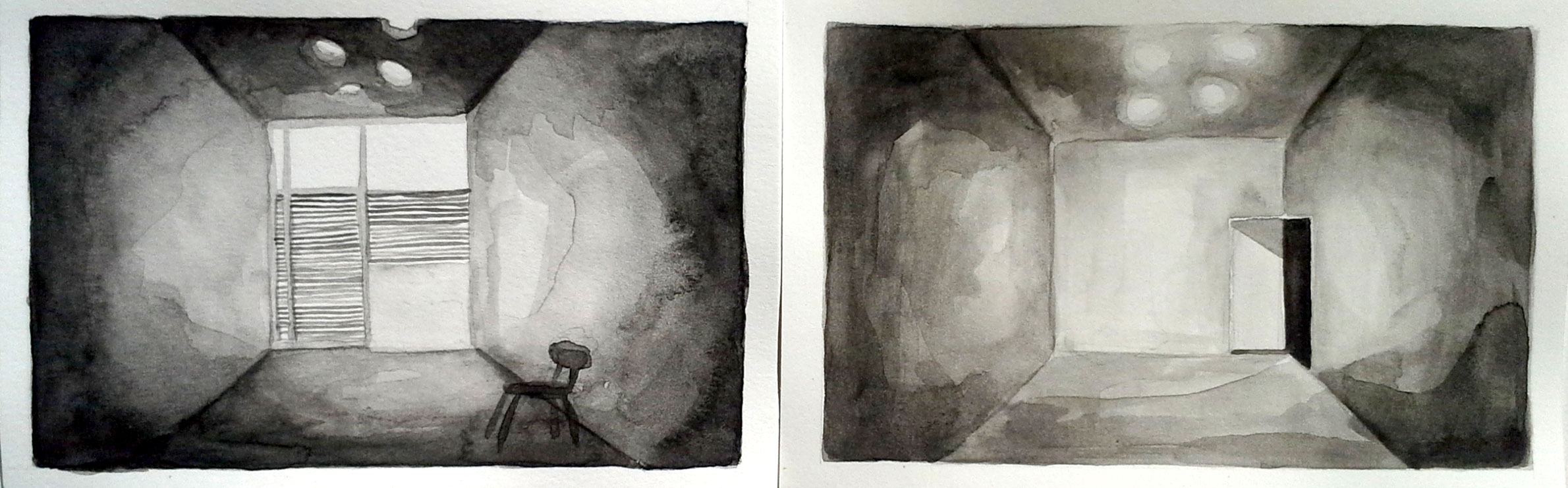 Gallery, Front & Back 4, 2013, 4 x 12 inches, watercolor on paper